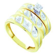 10K Yellow Gold Jewelry 0.11 ctw Diamond Trio Ring Set - ID#W27K7-WGD49523