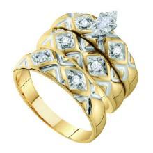 10K Yellow Gold Jewelry 0.20 ctw Diamond Trio Ring Set - ID#H36W2-WGD56639