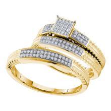10K Yellow Gold Jewelry 0.25 ctw Diamond Trio Ring Set - ID#H33W7-WGD52654