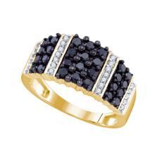 10K Yellow Gold Jewelry 0.97 ctw White Diamond & Black Diamond Ladies Ring - ID#J36R2-WGD74368