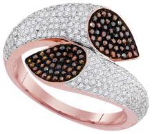10K Rose Gold Jewelry 0.70 ctw White Diamond & Cognac Diamond Ladies Ring - ID#L66Y2-WGD93187