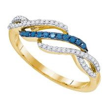 10K Yellow Gold Jewelry 0.25 ctw White Diamond & Blue Diamond Ladies Ring - ID#L14Y5-WGD82200