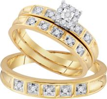 10K Yellow Gold Jewelry 0.28 ctw Diamond Trio Ring Set - ID#W32K4-WGD96761