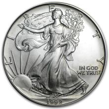 One 1992 1 oz Silver American Eagle BU