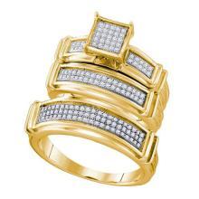 10K Yellow Gold Jewelry 0.42 ctw Diamond Trio Ring Set - ID#X48A1-WGD63572