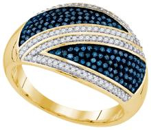 10K Yellow Gold Jewelry 0.50 ctw White Diamond & Blue Diamond Ladies Ring - ID#F45M7-WGD92017