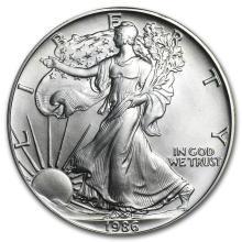 One 1986 1 oz Silver American Eagle BU