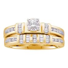 10K Yellow Gold Jewelry 0.28 ctw Diamond Bridal Ring Set - ID#H30W1-WGD22570