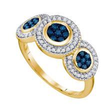 10K Yellow Gold Jewelry 0.51 ctw White Diamond & Blue Diamond Ladies Ring - ID#Z24P1-WGD65992