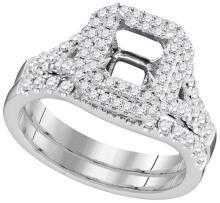 18K White Gold Jewelry 0.61 ctw Diamond Bridal Ring Set - ID#R126L1-WGD96427