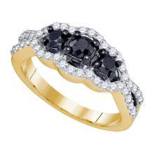10K Yellow Gold Jewelry 1.03 ctw White Diamond & Black Diamond Ladies Ring - ID#W51K6-WGD75880