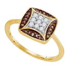 10K Yellow Gold Jewelry 0.25 ctw White Diamond & Cognac Diamond Ladies Ring - ID#L18Y1-WGD87348