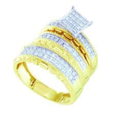10K Yellow Gold Jewelry 0.50 ctw Diamond Trio Ring Set - ID#X54A1-WGD56647