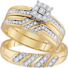 10K Yellow Gold Jewelry 0.32 ctw Diamond Trio Ring Set - ID#T33Z7-WGD96753