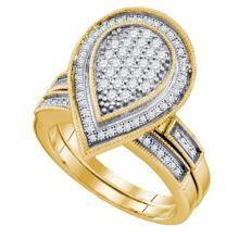 10K Yellow Gold Jewelry 0.53 ctw Diamond Bridal Ring Set - ID#T36Z2-WGD63987