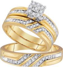 10K Yellow Gold Jewelry 0.33 ctw Diamond Trio Ring Set - ID#K36T2-WGD96734
