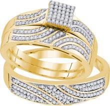 10K Yellow Gold Jewelry 0.40 ctw Diamond Trio Ring Set - ID#J48R1-WGD91858