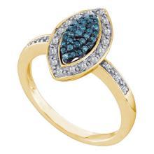 10K Yellow Gold Jewelry 0.25 ctw White Diamond & Blue Diamond Ladies Ring - ID#Z24P1-WGD56906
