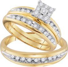 10K Yellow Gold Jewelry 0.50 ctw Diamond Trio Ring Set - ID#W39K7-WGD96727