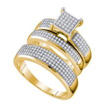 10K Yellow Gold Jewelry 0.63 ctw Diamond Trio Ring Set - ID#F66M2-WGD63880