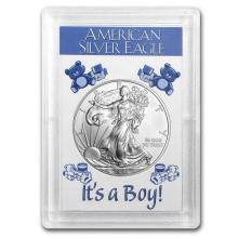 One 2015 1 oz Silver American Eagle BU (It's a Boy! Harris Holder