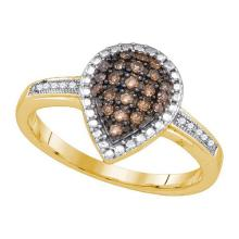 10K Yellow Gold Jewelry 0.20 ctw White Diamond & Black Diamond Ladies Ring - GD#85699
