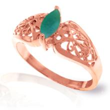 Genuine 0.2 ctw Emerald Ring Jewelry 14KT Rose Gold - GG#4621