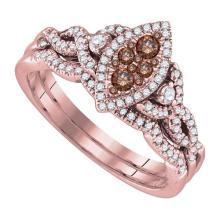14K Yellow Gold Jewelry 0.51 ctw White Diamond & Cognac Diamond Ladies Ring - GD#86612