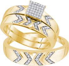 10K Yellow Gold Jewelry 0.25 ctw Diamond Trio Ring Set - GD#91844