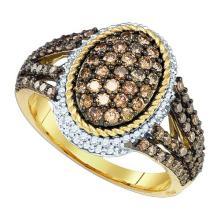 10K Yellow Gold Jewelry 1.2 ctw White Diamond & Cognac Diamond Ladies Ring - GD#81667