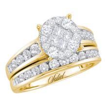 14K Yellow Gold Jewelry 1.4 ctw Diamond Bridal Ring Set - GD#48788