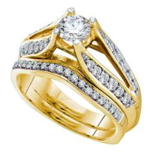 14K Yellow Gold Jewelry 1.0 ctw Diamond Bridal Ring Set - GD#22739