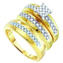 10K Yellow Gold Jewelry 0.34 ctw Diamond Trio Ring Set - GD#56496