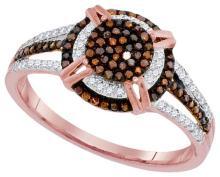 10K Rose Gold Jewelry 0.33 ctw White Diamond & Cognac Diamond Ladies Ring - GD#93305
