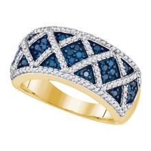 10K Yellow Gold Jewelry 0.78 ctw White Diamond & Blue Diamond Ladies Ring - GD#85756