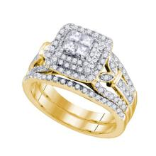 14K Yellow Gold Jewelry 1.03 ctw Diamond Bridal Ring Set - GD#75511