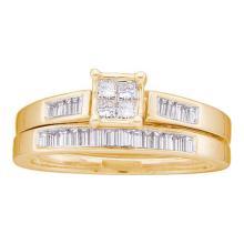 14K Yellow Gold Jewelry 0.35 ctw Diamond Bridal Ring Set - GD#19746