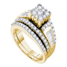 14K Yellow Gold Jewelry 1.47 ctw Diamond Bridal Ring Set - GD#54875