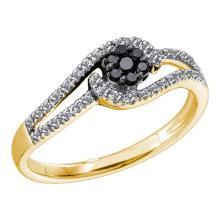 14K Yellow Gold Jewelry 0.25 ctw White Diamond & Black Diamond Ladies Ring - GD#51108