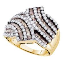 14K Yellow Gold Jewelry 1.75 ctw White Diamond & Cognac Diamond Ladies Ring - GD#49648