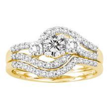14K Yellow Gold Jewelry 1.0 ctw Diamond Bridal Ring Set - GD#29473