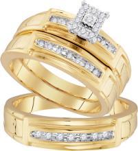 10K Yellow Gold Jewelry 0.25 ctw Diamond Trio Ring Set - GD#96743