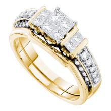 14K Yellow Gold Jewelry 1.0 ctw Diamond Bridal Ring Set - GD#53818