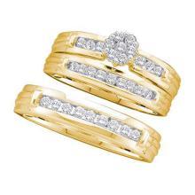 14K Yellow Gold Jewelry 0.50 ctw Diamond Trio Ring Set - GD#19768