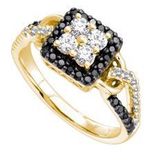 14K Yellow Gold Jewelry 0.75 ctw White Diamond & Black Diamond Ladies Ring - GD#51110