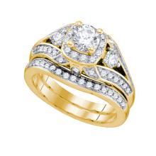 14K Yellow Gold Jewelry 1.48 ctw Diamond Bridal Ring Set - GD#75422