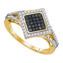 10K Yellow Gold Jewelry 0.33 ctw White Diamond & Black Diamond Ladies Ring - GD#89495