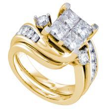14K Yellow Gold Jewelry 3.0 ctw Diamond Bridal Ring Set - GD#70270