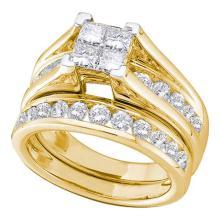 14K Yellow Gold Jewelry 2.0 ctw Diamond Bridal Ring Set - GD#38017