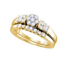 14K Yellow Gold Jewelry 0.54 ctw Diamond Bridal Ring Set - GD#66687
